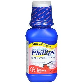 Phillips Milk of Magnesia Concentrated Liquid Fresh Strawberry Flavor - 8.0 oz, Pack of 5