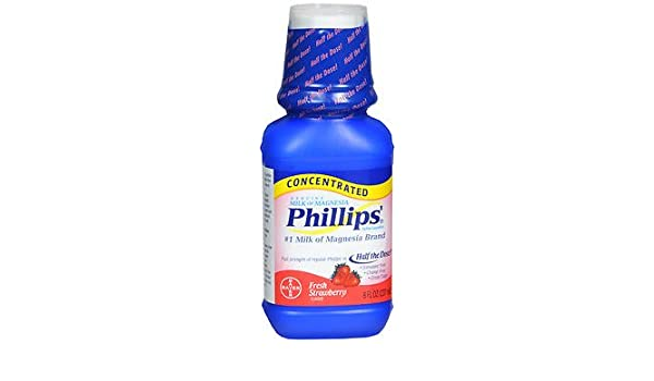 Amazon.com : Phillips Milk of Magnesia Concentrated Liquid Fresh Strawberry Flavor - 8.0 oz, Pack of 2 : Beauty