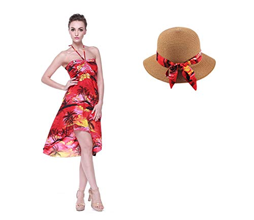 Hawaiian Luau Halter Floral Print Butterfly Dress and Hat with Matching Band S Sunset Red ()