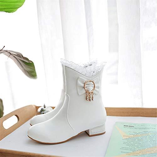 otoño white cómodo Invierno y Dulce Mujer Cuadrado e Botas de de de con Talla código REwY6EqI