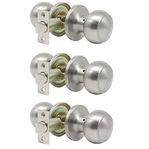 Probrico Satin Nickel Passage Door Knobs Handles for Hall and Closet Lockset Leverset 3 Pack