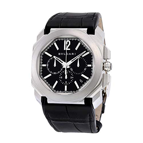 Bvlgari Black Dial Leather - Bvlgari Octo Black Dial Alligator Leather Automatic Mens Watch BGO41BSLDCH