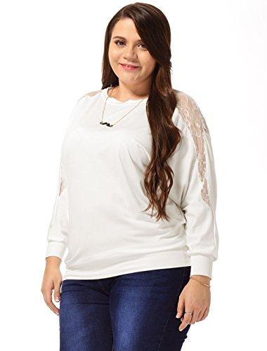 Agnes Orinda Mujer Talla extra Batwing Camiseta manga larga túnica de Ocio White