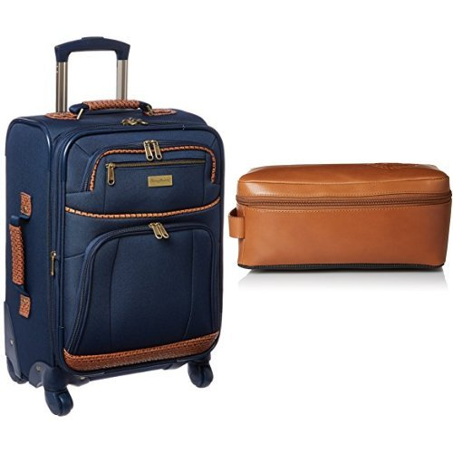 Tommy Bahama Softside Carry On Luggage with Leather Travel Kit Toiletry Bag, Navy by Tommy Bahama