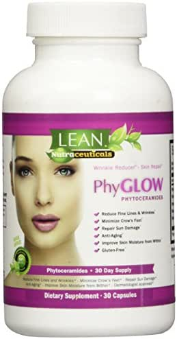 Top Rated Phytoceramides 350mg Capsules - PhyGLOWTM Gluten-Free All Natural Plant Derived Skin Restoring Wrinkle Reducing Dermatologist Recommended Ceramides Supplement from LEAN Nutraceuticals