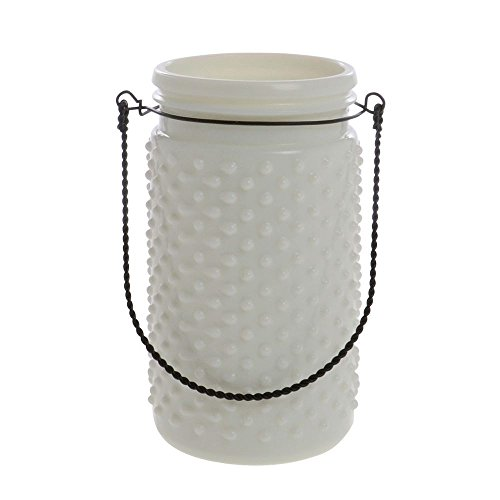 White Hobnail Glass Jar 4