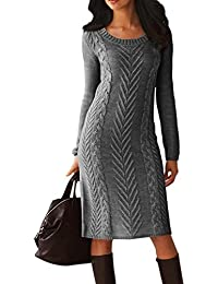 Women's Long Sleeve Crew Neck Slim Knit Sweater Bodycon Midi Dress