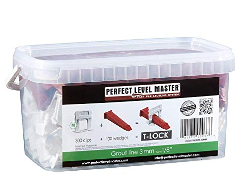 "1/8"" T-Lock Complete KIT Anti lippage Tile leveling system by PERFECT LEVEL MASTER 300 spacers & 100 wedges in handy bucket ! Tlock"