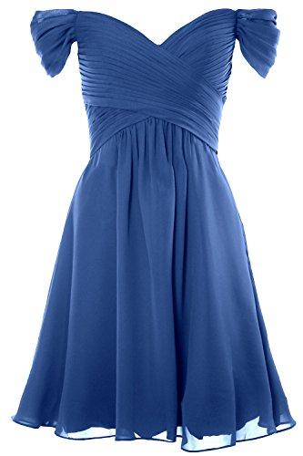MACloth Women Off Shoulder Short Bridesmaid Dress Wedding Party Formal Gown (US14, Horizon)