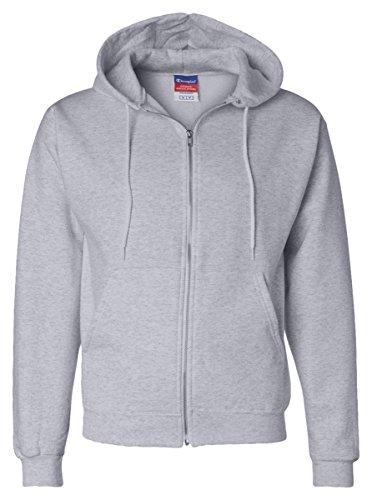 Champion Men's Eco Full-Zipper Fleece Hooded Sweatshirt, Small, Light Steel ()