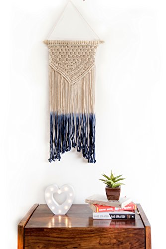 Macrame Wall Hanging Blue Woven Large Tapestry - Handmade Bohemian Home Decor - Boho Chic Apartment Studio or Dorm Decorative Interior Wall Art - Office Living Room Bedroom Nursery Craft Decorations ()
