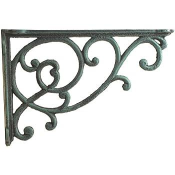 ornate vine shelf bracket decorative cast iron wall brace verdigris 12375 deep - Decorative Metal Shelf Brackets
