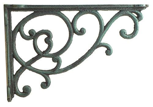 Import Wholesales Ornate Vine Shelf Bracket Decorative Cast Iron Wall Brace Verdigris 12.375