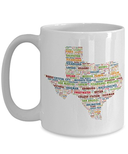 Texas Cities In The Shape Of The State 15 oz Coffee Mug