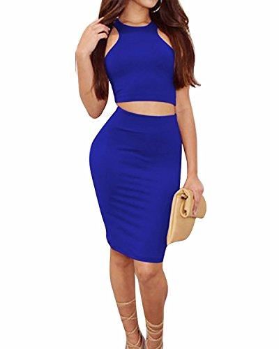 BIUBIU Women's 2 Piece Crop Top Skirt Outfit Bodycon Bandage Midi Dress Blue XL Blue Skirt Outfit