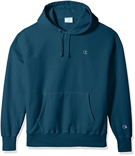 - Champion LIFE Men's Reverse Weave Pullover Hoodie, Juniper Blue Pigment Dyed, L
