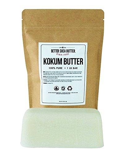 - Kokum Butter - Light, Firm Butter, Use to Make Soap, Lotion Bars, Lip Balm, Body Butter - Scent-Free - 16 oz by Better Shea Butter
