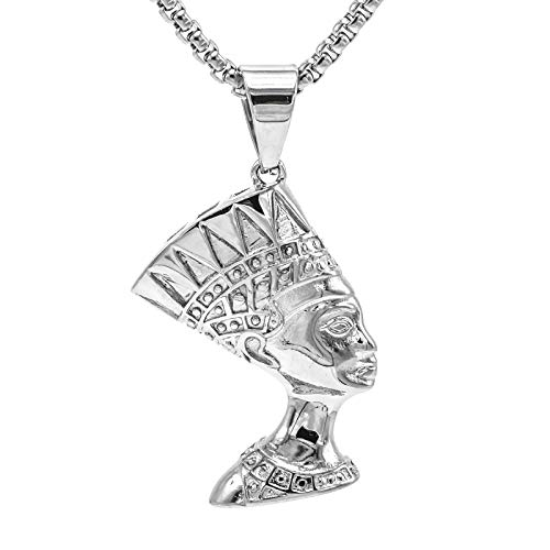 Lax Jewelry Womens Mens Stainless Steel Pendant Necklace, Lion Head, Egypt Queen Nefertiti, Egyptian Eye of Horus in Pyramid, 24 inch Chain (Egypt Queen Nefertiti -