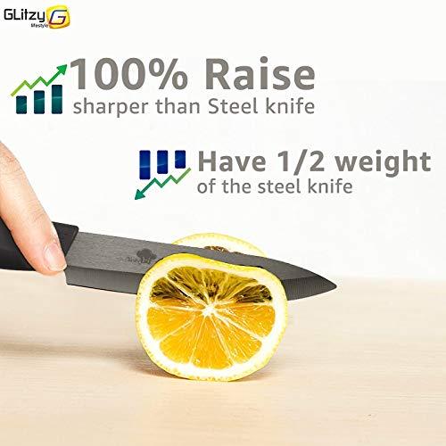 Gano Zen Ceramic Knife 6 5 4 3 Inch Kitchen Chef Knives Zirconia Black Blade Utility Slicing - Paring Fruit Vegetable Meat - Cutter Tool by Gano Zen (Image #4)