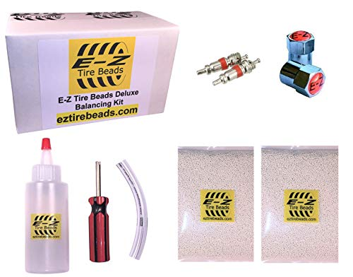 E-Z Tire Beads Deluxe Motorcycle Kit, Ceramic Dynamic Balancing 2 oz Front + 2 oz Rear Balance Beads (4 Total), Applicator Kit, Chrome Caps, Valve - Motorcycle Deluxe