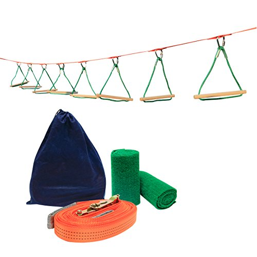 UBOWAY Ninja Hanging Obstacle Course Kit Obstacles Line Equipment Set for Kids with 26' Slackline, 8 Monkey Bars by UBOWAY