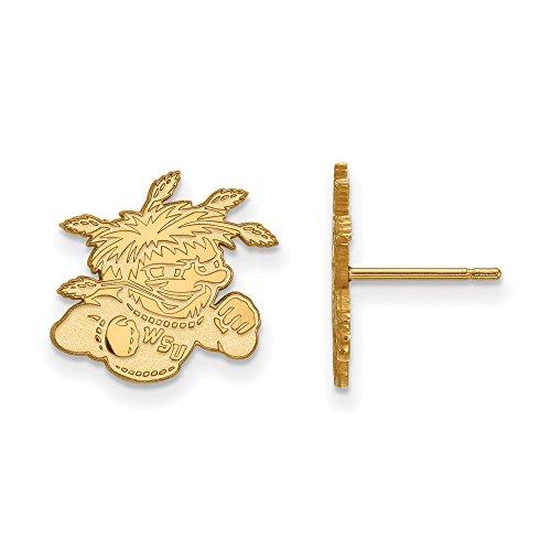 Wichita State Small (1/2 Inch) Post Earrings (10k Yellow Gold) by LogoArt