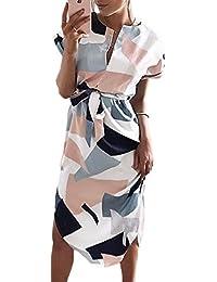 Womens Summer Casual V-Neck Floral Print Geometric Pattern Side Split Belted Dress