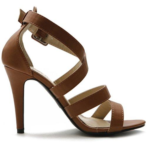 Ollio Women's Shoe High Heel Cross Strap Sandal (9 B(M) US, Brown)