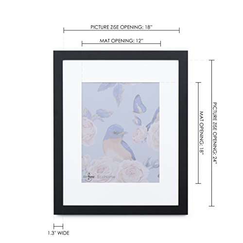 18x24 Black Picture Frame - Matted for 12x18 Poster, Frames by EcoHome