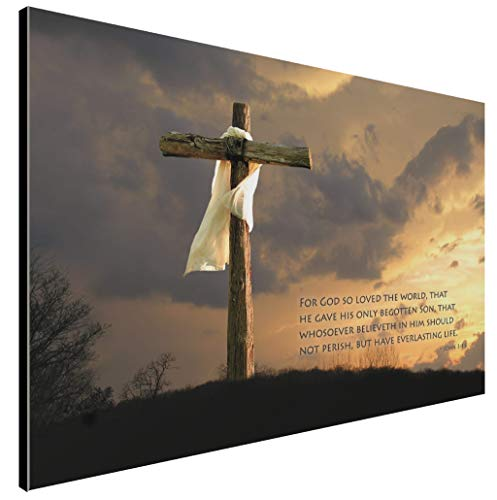 LACOFFIO John 3:16 Wooden Art Décor Plaque - Religious Christian Bible Verse with Neat Wood Cross Background - Handcrafted by The Amish in USA from Real Pine Wood, 18 x 12 Inches