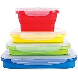 Thin Bins Collapsible Containers – Set of 4 Square Silicone Food Storage Containers – BPA Free, Microwave, Dishwasher and Freezer Safe - No more cluttered container cabinet!