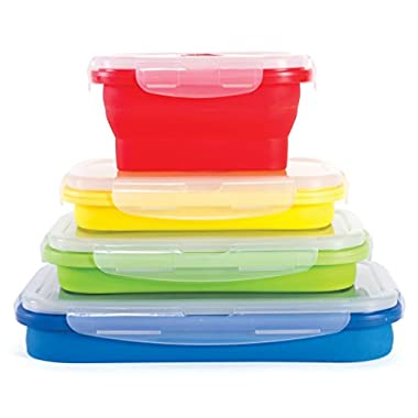 Thin Bins Collapsible Containers – Set of 4 Silicone Food Storage Containers – BPA Free, Microwave, Dishwasher and Freezer Safe