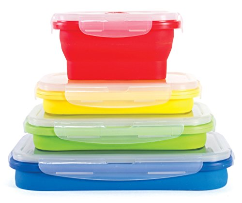 Thin Bins Collapsible Containers - Set of 4 Rectangle Silicone Food Storage Containers - BPA Free, Microwave, Dishwasher and Freezer Safe - No more cluttered container cabinet!