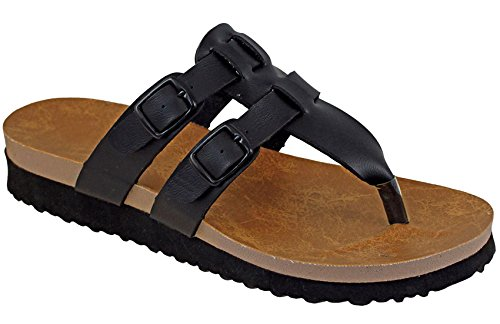 Cambridge Select Womens Double Buckle Slip On Slide Sandal Black bYgjN2Qns