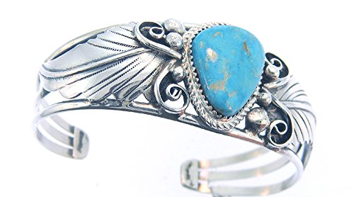 (Made in the USA by Navajo Artist Darrel Morgan. Beautiful! Genuine Turquoise Woman's Bracelet)