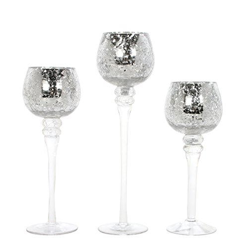 Hosley Set of 3 Crackle Mercury Glass Tealight Holders (9