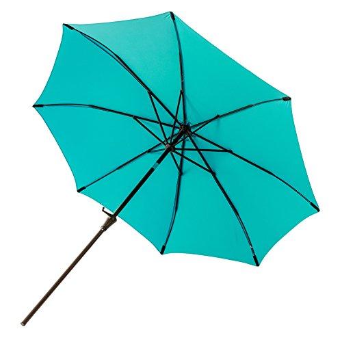 Aqua blue patio umbrella with a fiberglass tip.