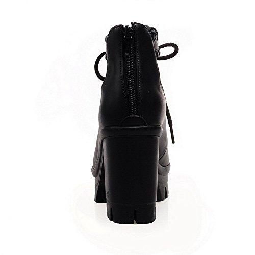 Balamasa Kvinna Bandage Zipper Mjuk Material Sandaler Svarta