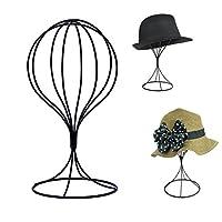 Padshow Freestanding Hat Rack Wire Ball Hat Stand / Wig Holder Storage Display Stand,Black Metal