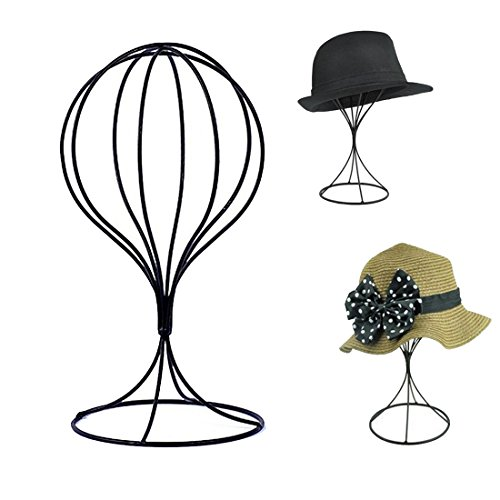 Padshow Freestanding Wire Ball Hat Stand/ Hat Rack / Wig Holder Storage Display Stand,Black Metal