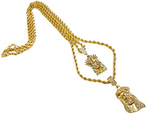 18k Gold Plated Double Chain Layer Necklace with Two Jesus Pieces (Gold)