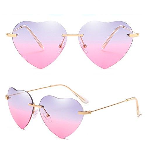 Womens Soleil Des de Fille de Grey Lunettes Avec Plage Métal Monture Sunglasses Coeur Mince Armature Qualité Sans amp;pink Forme Cas Zhhlinyuan en Femme dwSEXd