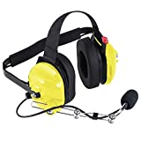 Rugged Radios H42-YEL Yellow Behind The Head Two-Way Radio Headset with Dynamic Noise Cancelling Microphone, Push to Talk, and 3.5mm Input Jack for Music & MP3 Players