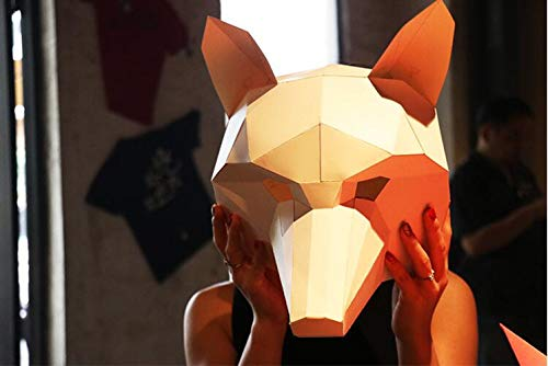 MostaShow 3D Paper Mask Animal Head Molds DIY Handwork Halloween Party Costume Cosplay Party Tricky Funny Masks (Wolf-2) -