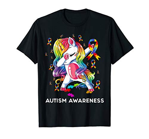 (Dabbing Unicorn Puzzle Ribbon Autism awareness T)
