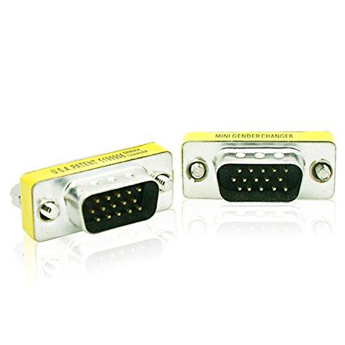 Monitor Gender Changer - UXOXAS 15 Pin DB15 HD SVGA VGA Male to Male 15 Pin M/M Monitor Gender Changer Coupler Adapter Connector
