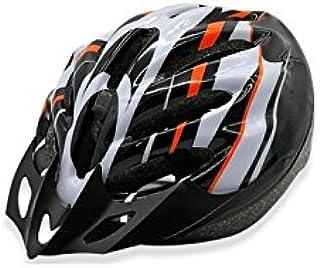 AHIMITSU Casco da Ciclismo Casco Bici Regolabile da Uomo Ventilation Bike Helmet (Nero + Bianco + Arancio) Articoli Sportivi