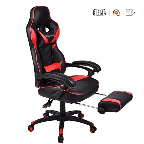 ELECWISH Ergonomic Computer Gaming Chair, Large Size Pu Leather High Back Office Racing Chairs with Widen Thicken Seat, Red