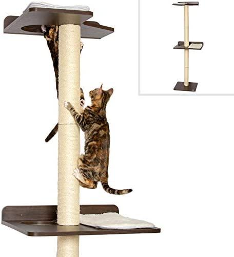 PetFusion Ultimate Cat Climbing Tower Activity Tree. 24 x 20.8 x 76.8 inches lwh Tall Sisal Scratching Posts, Modern Wall Mounted cat Furniture, Espresso Finish . 1 Year Manufacturer Warranty