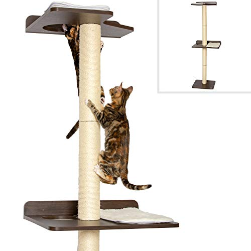 (PetFusion Cat Climbing Tree Tower. (Tall sisal Scratching Posts, 2 Level Wall Mounted))